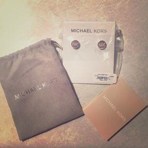 Michael Kors Mk Logo Rose Gold Earrings